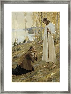 Christ And Mary Magdalene, A Finnish Legend Framed Print by Albert Edelfelt