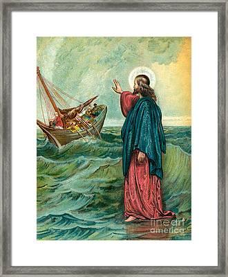 Christ Walking On The Sea Framed Print by English School
