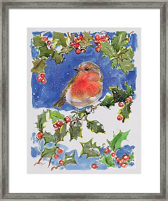 Christmas Robin Framed Print by Diane Matthes