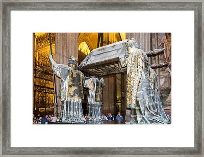 Christopher Columbus Burial Site - Cathedral Of Seville - Seville Spain Framed Print by Jon Berghoff