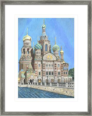 Church Of Our Savior On Spilled Blood St. Petersburg Russia Framed Print by Janet Grappin