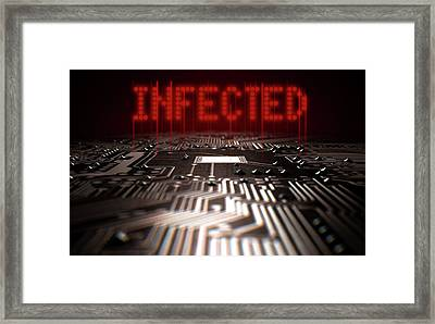 Circuit Board Infected Text Framed Print by Allan Swart