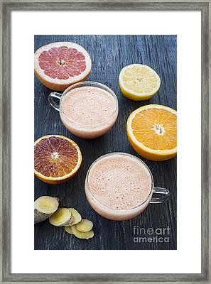 Citrus Smoothies Framed Print by Elena Elisseeva