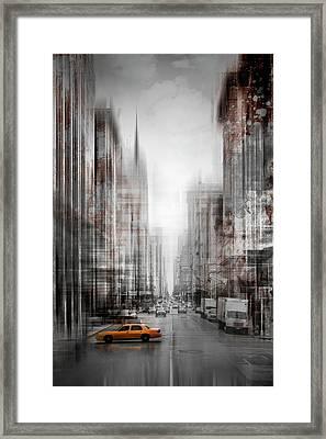 City-art Nyc 5th Avenue Yellow Cab Framed Print by Melanie Viola