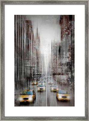 City-art Nyc 5th Avenue Yellow Cabs Framed Print by Melanie Viola