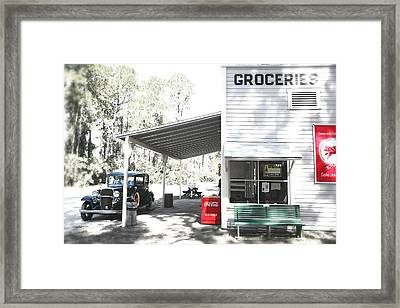 Classic Chevrolet Automobile Parked Outside The Store Framed Print by Mal Bray