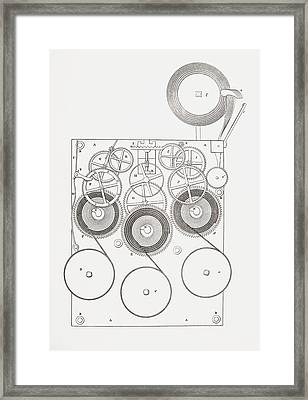 Clock With Chimes. From The Cyclopaedia Framed Print by Vintage Design Pics