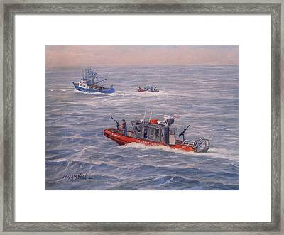 Coast Guard In Pursuit Framed Print by William H RaVell III