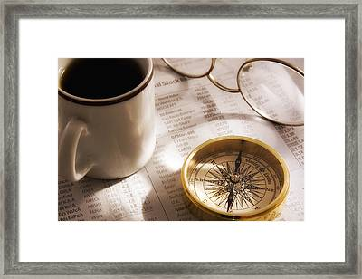 Compass And Financial Page Framed Print by Utah Images