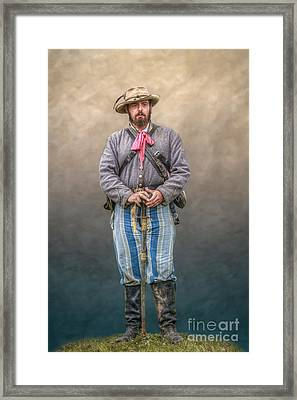 Confederate Soldier With Sword Portrait Framed Print by Randy Steele