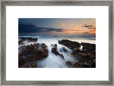 Coral Cove Dawn Framed Print by Mike  Dawson