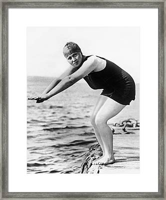 Corson Swims English Channel Framed Print by Underwood Archives