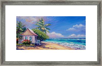 Cottage On The Beach Framed Print by John Clark