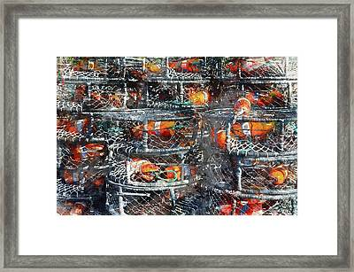 Crab Pots Framed Print by Brandon Bourdages