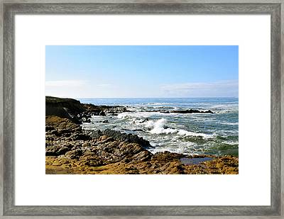 Crashing Waves Moonstone Beach Framed Print by Barbara Snyder