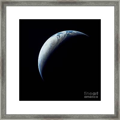 Crescent Earth Taken From The Apollo 4 Framed Print by Stocktrek Images