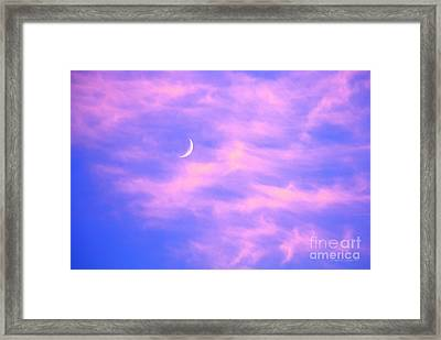 Crescent Moon Behind Cirrus Cloud In The Evening Framed Print by Gordon Wood