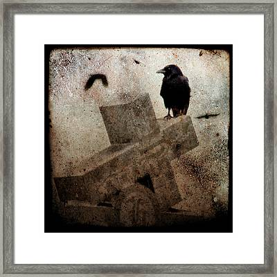 Cross With Crow Framed Print by Gothicolors Donna Snyder