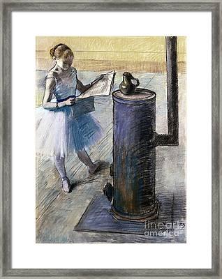 Dancer Resting Framed Print by Edgar Degas