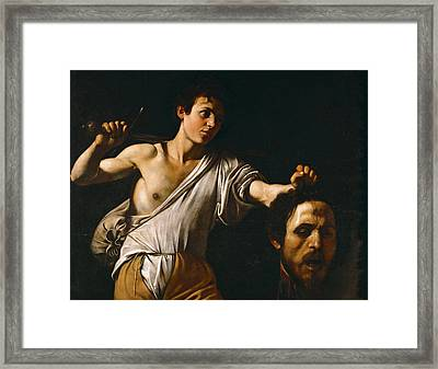 David With The Head Of Goliath Framed Print by Caravaggio