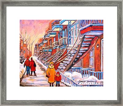 Debullion Street Winter Walk Framed Print by Carole Spandau