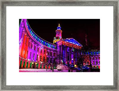 Denver City And County Building Holiday Lights Framed Print by Teri Virbickis