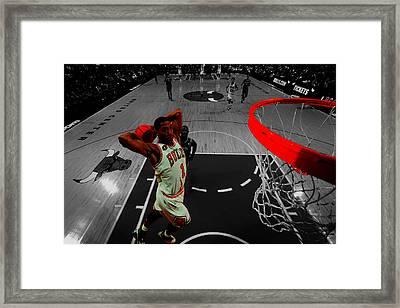 Derrick Rose Taking Flight Framed Print by Brian Reaves