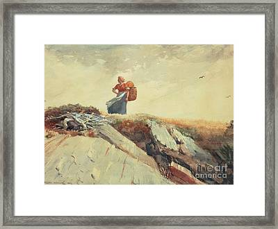 Down The Cliff Framed Print by Winslow Homer