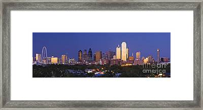 Downtown Dallas Skyline At Dusk Framed Print by Jeremy Woodhouse