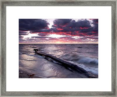 Drama Over Lake Erie Framed Print by At Lands End Photography