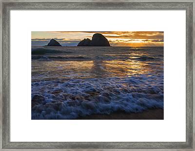 Dramatic Sunset Oregon Coast Usa Framed Print by Vishwanath Bhat