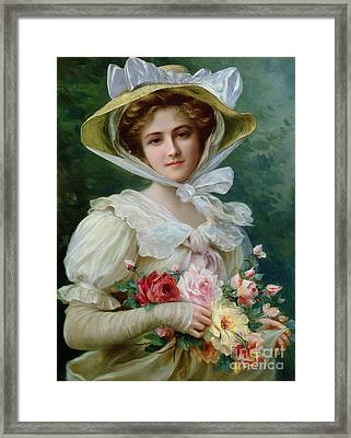 Elegant Lady With A Bouquet Of Roses Framed Print by Emile Vernon