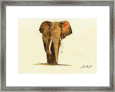 Elephant Watercolor Framed Print by Juan  Bosco