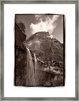 Emerald Pools Falls Zion National Park Framed Print by Steve Gadomski