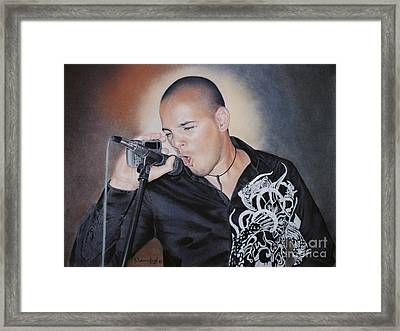 Emilio Singing His Heart Out Framed Print by Nanybel Salazar