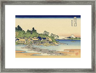Enoshima In Sagami Province Framed Print by Katsushika Hokusai