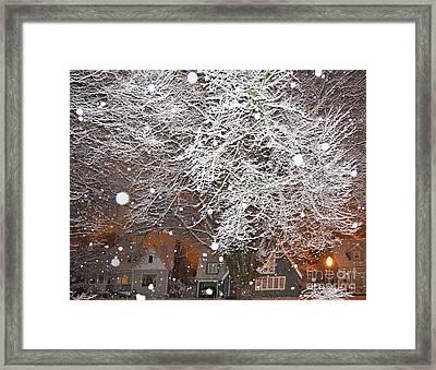 Falling Snow In A Neighborhood Framed Print by David Buffington