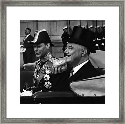 Fdr Presidency. King George Vi Framed Print by Everett