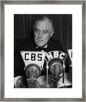 Fdr Presidency.  Us President Franklin Framed Print by Everett