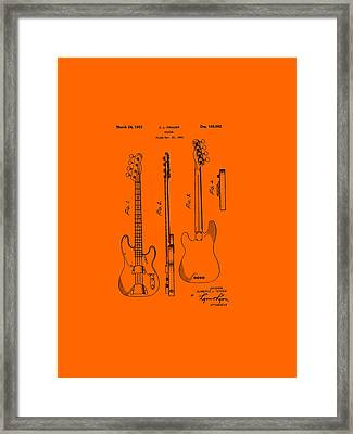 Fender Bass Guitar Patent-1953 Framed Print by Barry Jones