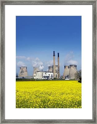 Ferrybridge Power Station And Rape Field Framed Print by Mark Sykes