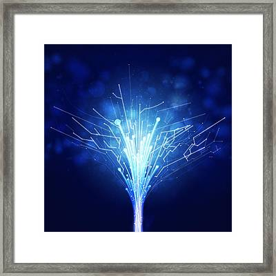 Fiber Optics And Circuit Board Framed Print by Setsiri Silapasuwanchai