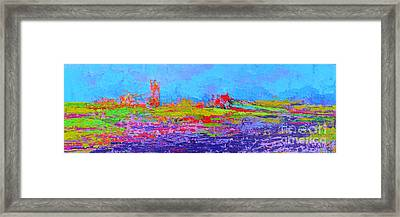 Field Of Flowers Modern Abstract Landscape Painting - Palette Knife Work Framed Print by Patricia Awapara