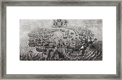 Fight Between The Spanish Armada And Framed Print by Vintage Design Pics