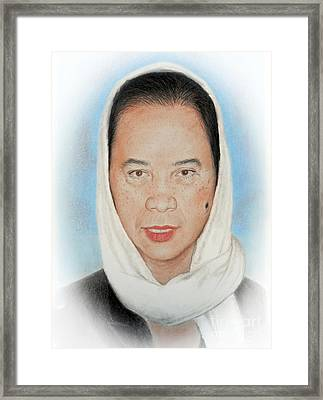 Filipina Woman Wearing A Scarf Framed Print by Jim Fitzpatrick