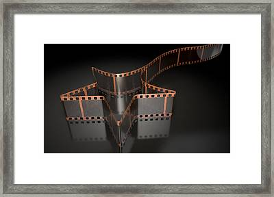 Film Strip Shooting Star Curled Framed Print by Allan Swart