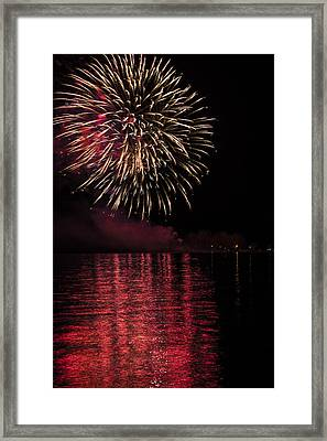 Firework With Red Reflection In Water Framed Print by Larysa Hlebik