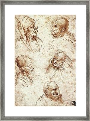 Five Caricature Heads Framed Print by Leonardo da Vinci