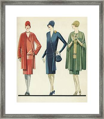 Flappers In Frocks And Coats, 1928 Framed Print by American School
