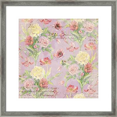 Fleurs De Pivoine - Watercolor In A French Vintage Wallpaper Style Framed Print by Audrey Jeanne Roberts